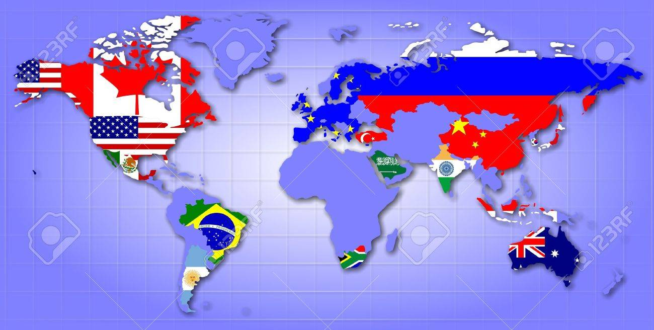 A map of world showing g20 member countries as their flags stock a map of world showing g20 member countries as their flags stock photo 15076390 gumiabroncs Choice Image