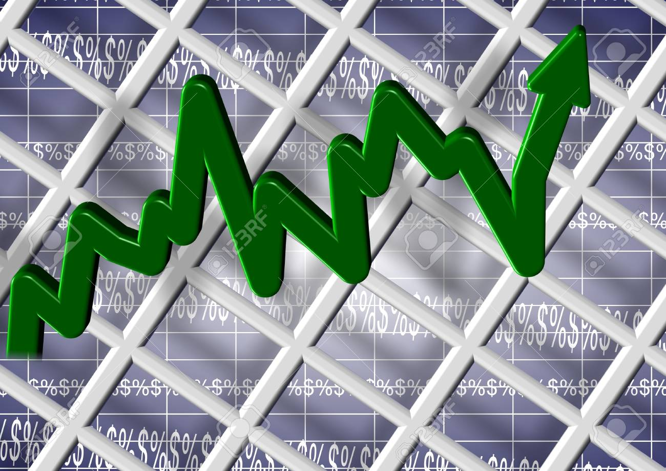 An abstract 3d illustration of a chart with dollar and percentage symbols Stock Illustration - 15478002