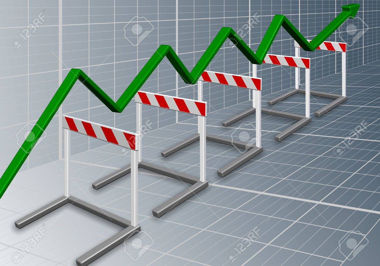 A row of barriers with a green chart arrow going over them Stock Photo - 16026619