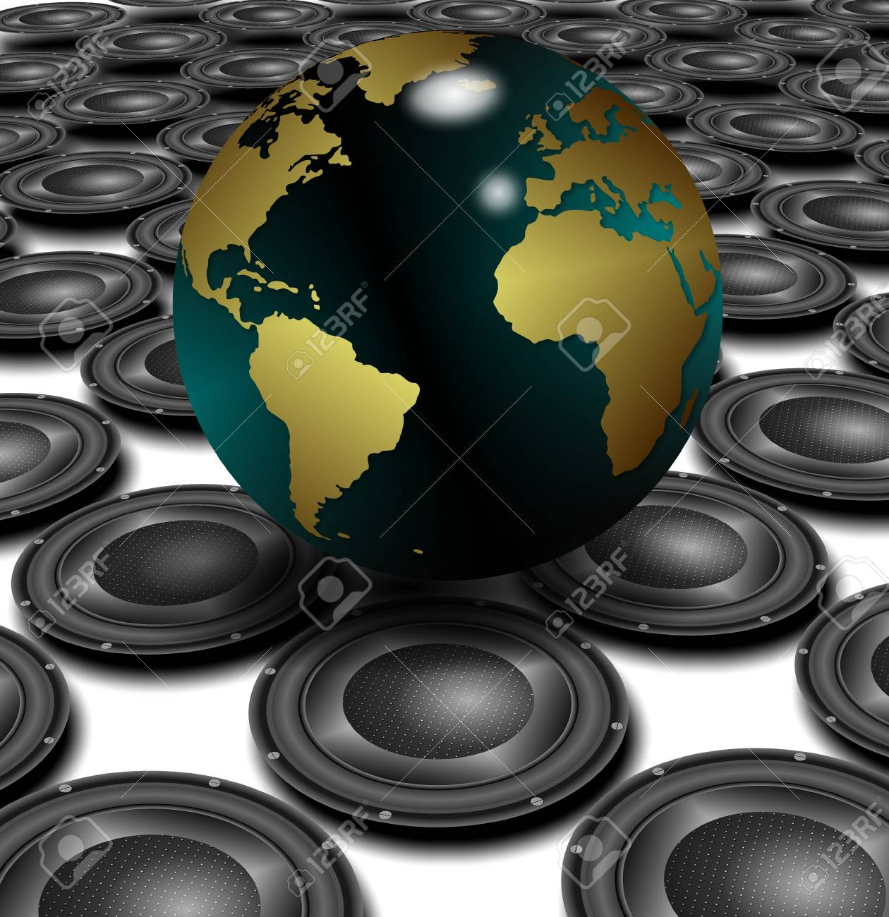 White floor covered with black speakers and earth globe above them Stock Photo - 17284914