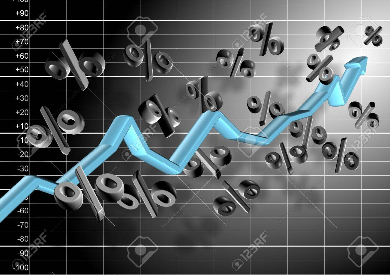 3d chart arrow and percentage symbols hovering in the air in front of black and white graph Stock Photo - 17885754
