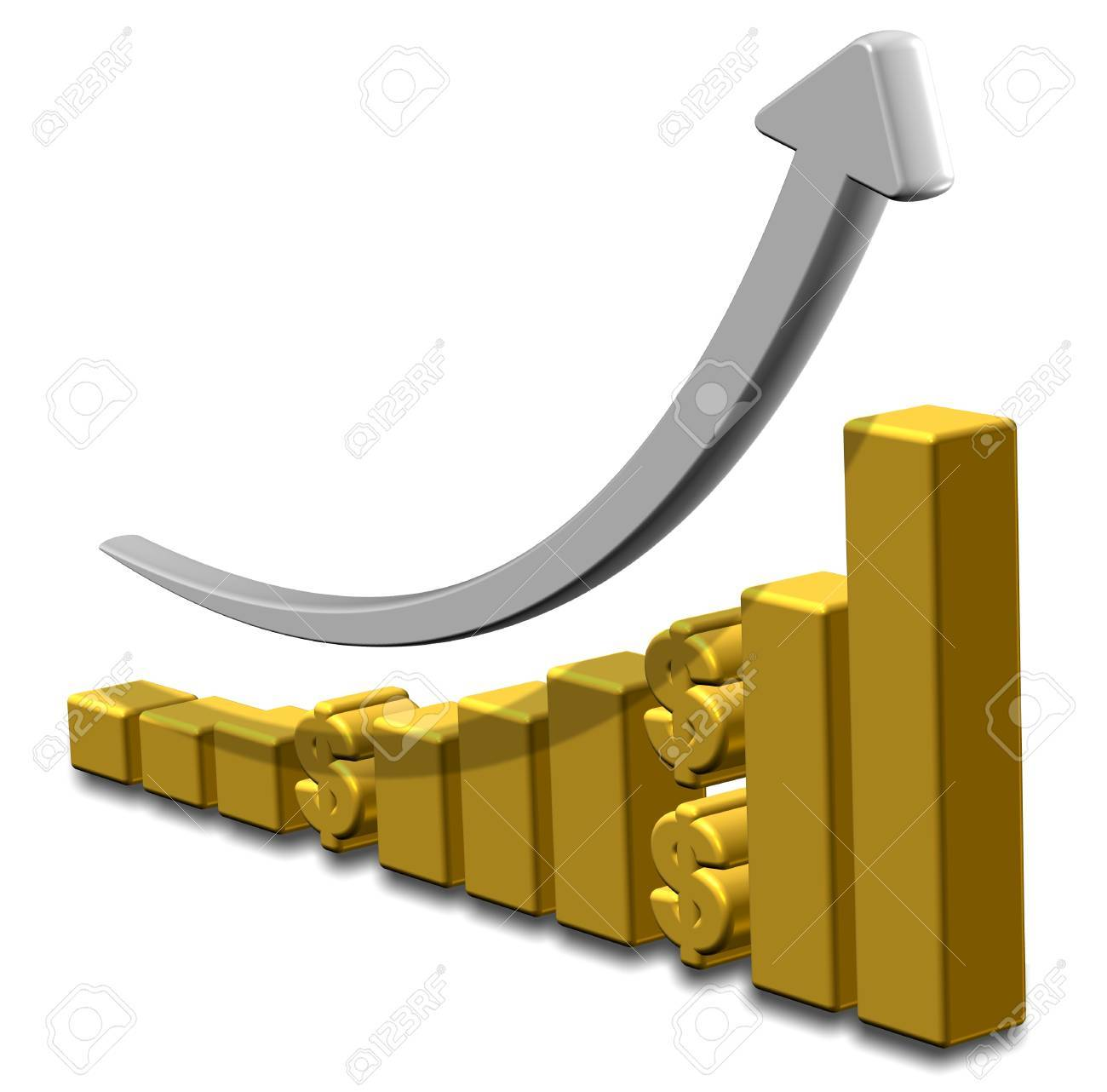Golden upward chart with dollar symbols and an arrow Stock Photo - 18049628