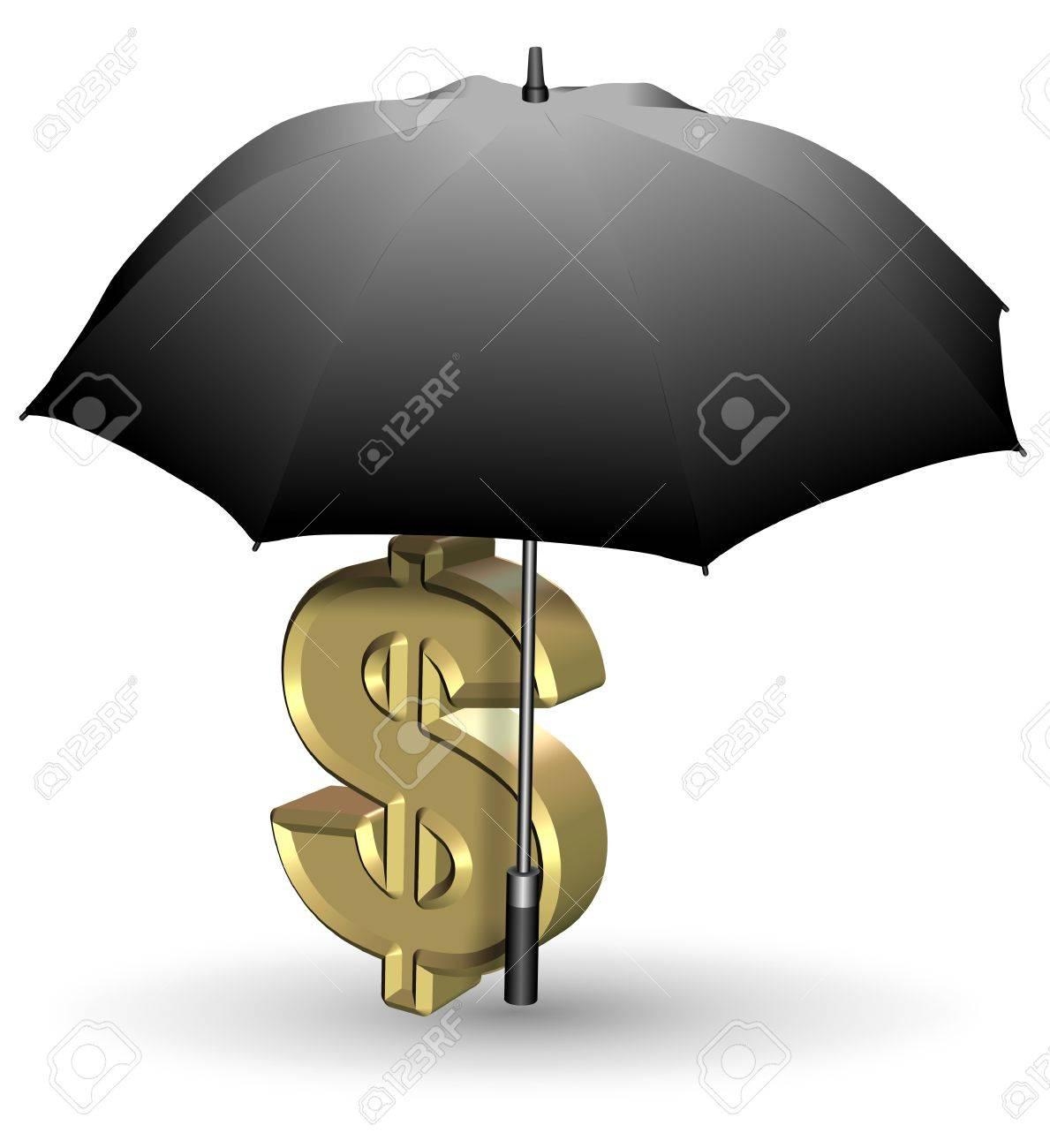 Golden dollar symbol under open black umbrella Stock Photo - 18838033