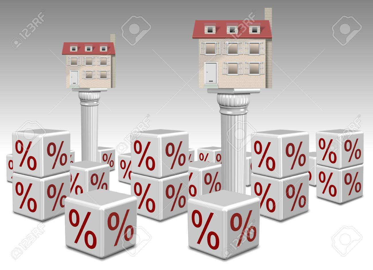 Houses on columns surrounded by percentage symbols Stock Photo - 19082544