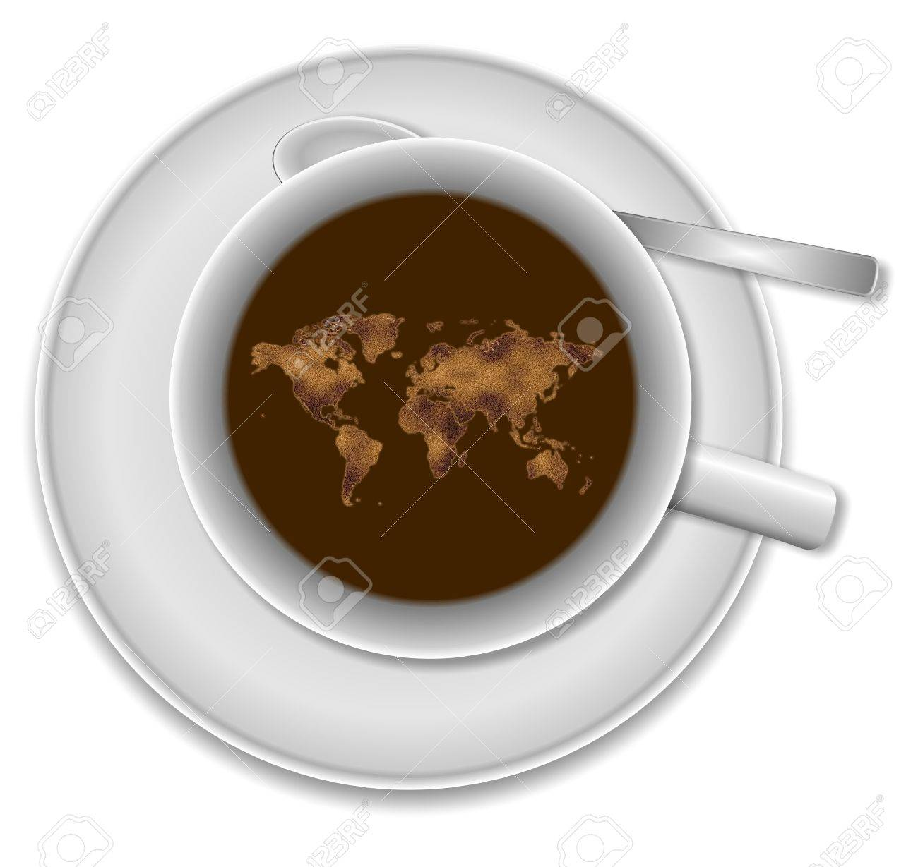 White Cup Of Coffee And World Map Floating In It Stock Photo