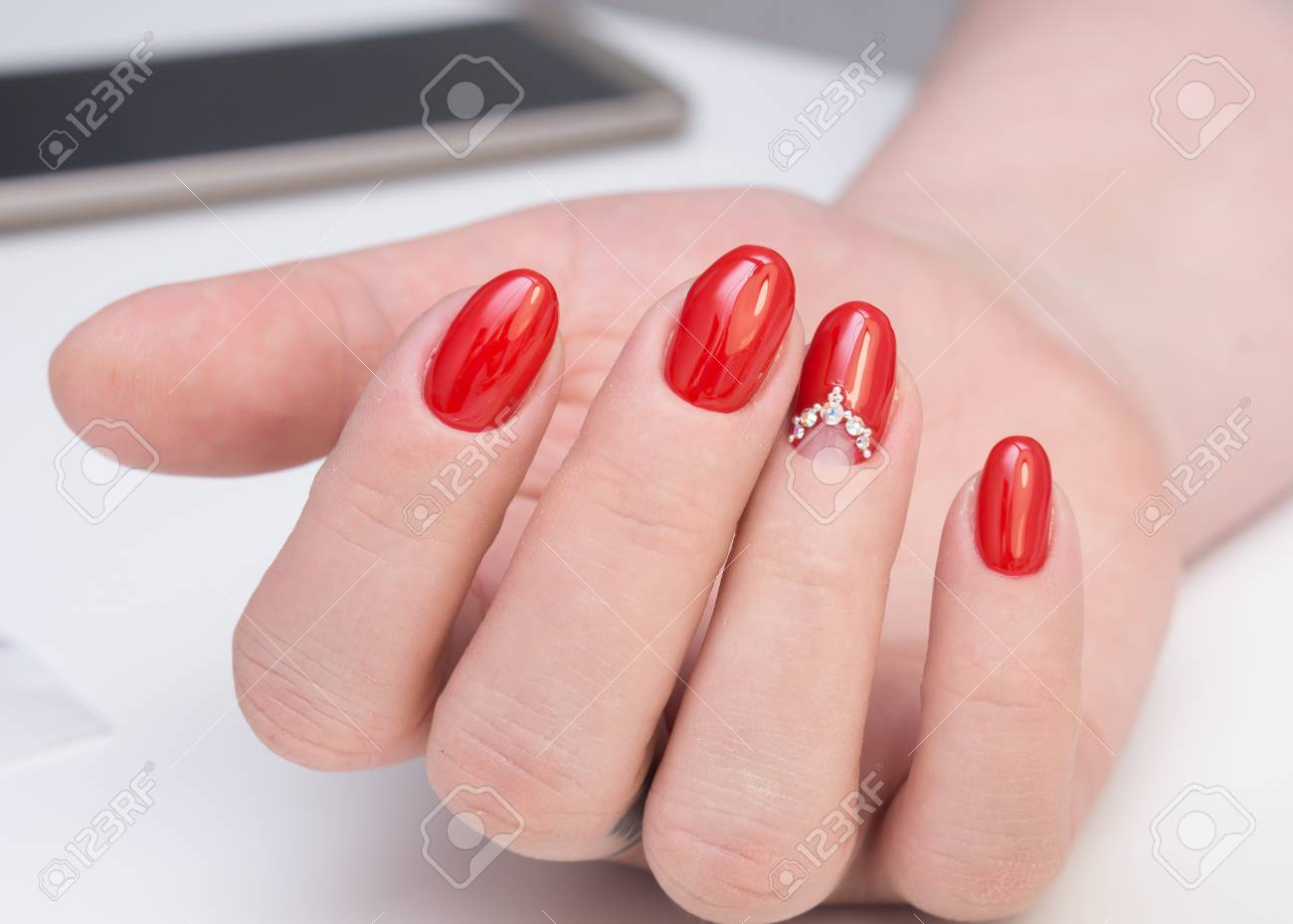 Amazing Manicure And Natural Nails With Gel Polish. Attractive ...