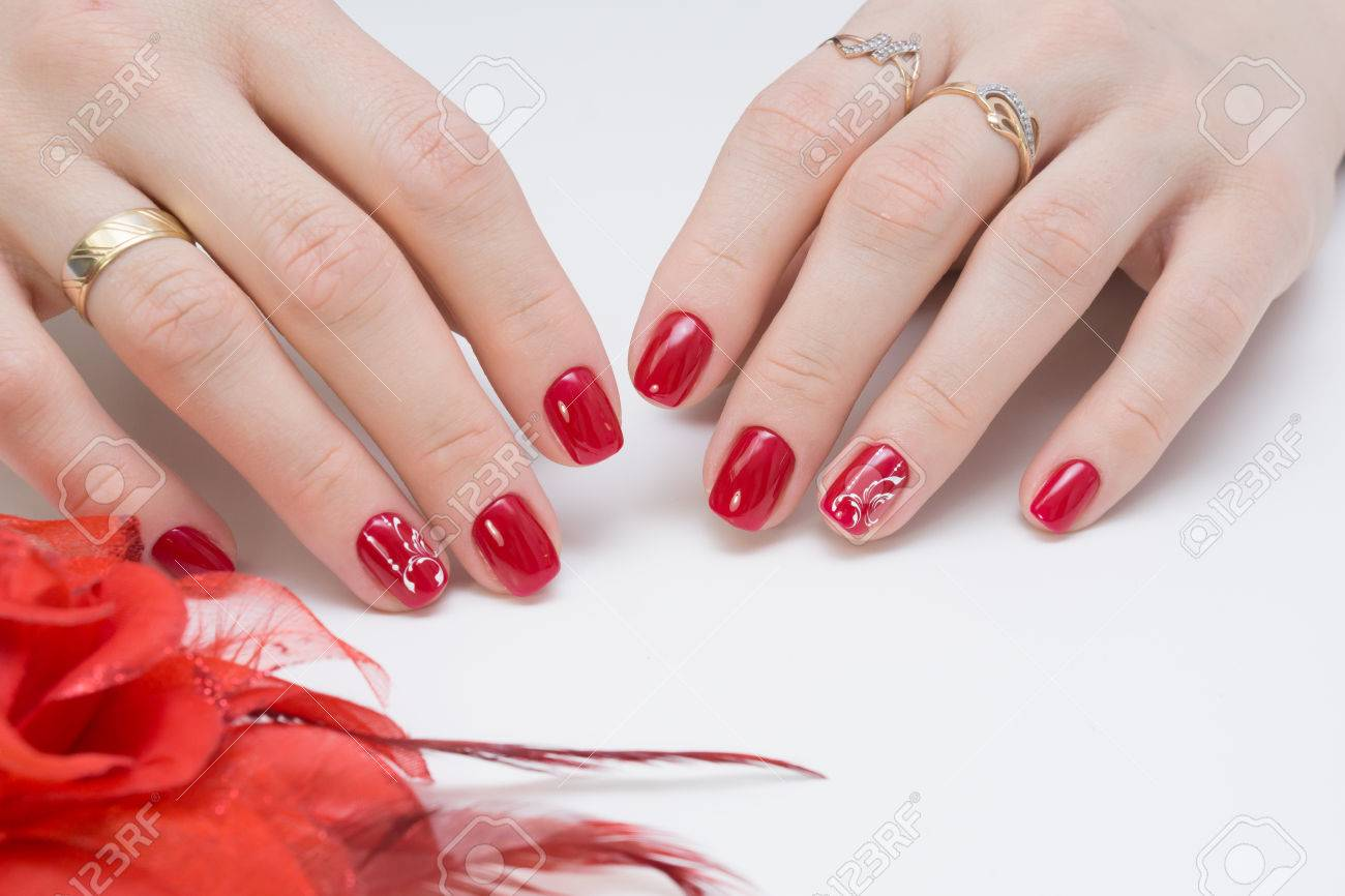 Women Hands With Beautiful Manicure. Natural Nails And Gel Polish ...