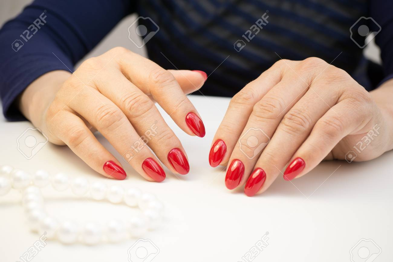 Attractive Women S Hands Natural Nails With Beautiful Manicure Stock Photo Picture And Royalty Free Image Image 77913008