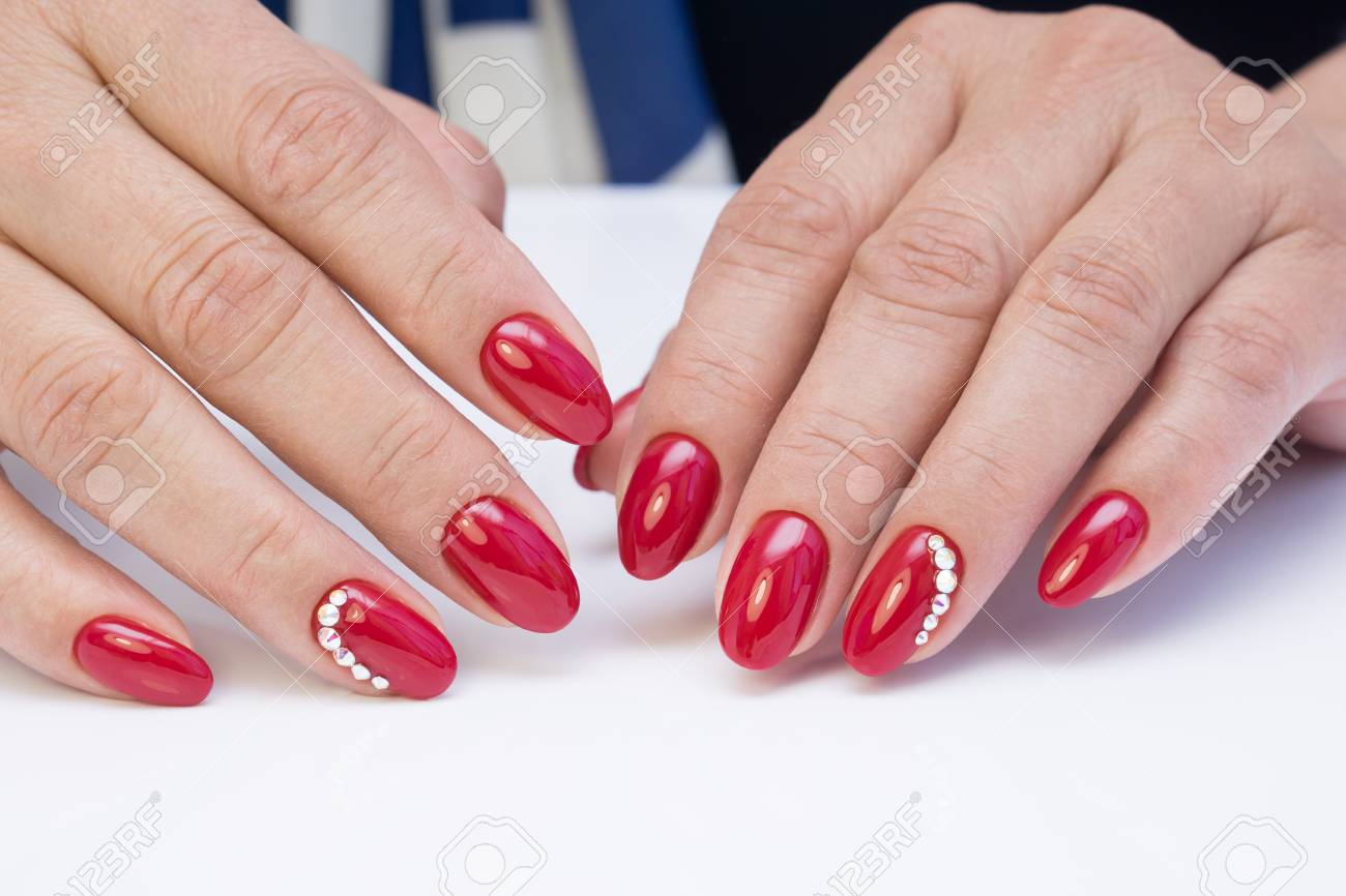 Hands With Beautiful Manicure. Natural Nails With Gel Polish Stock ...