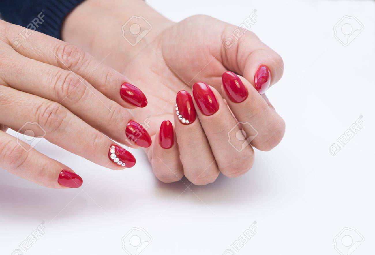 Hands with beautiful manicure. Natural nails with gel polish - 79825134