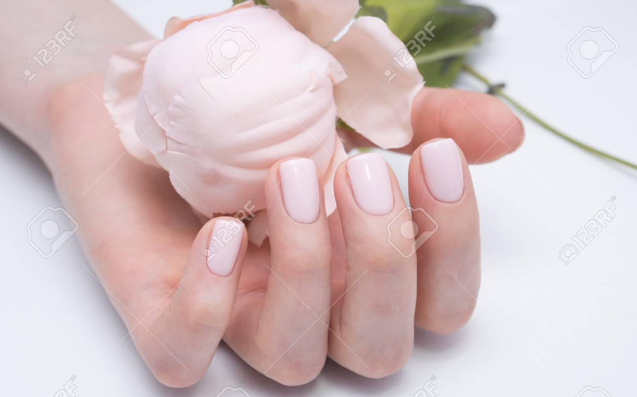 Beautiful Manicure And Nail Art. Natural Nails And Gel Polish. Stock ...
