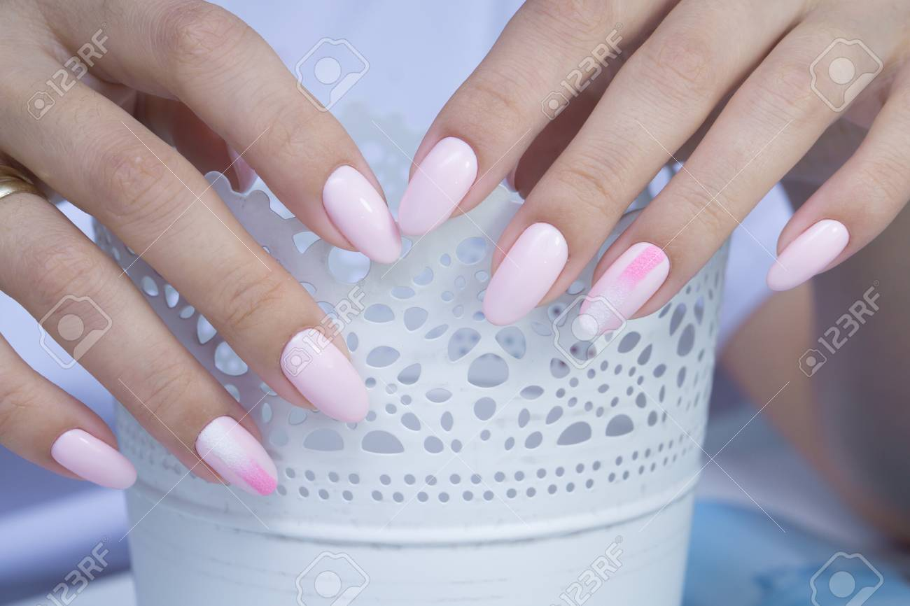 Beautiful Natural Nails. Clean Manicure And Nail Art. Women\'s ...