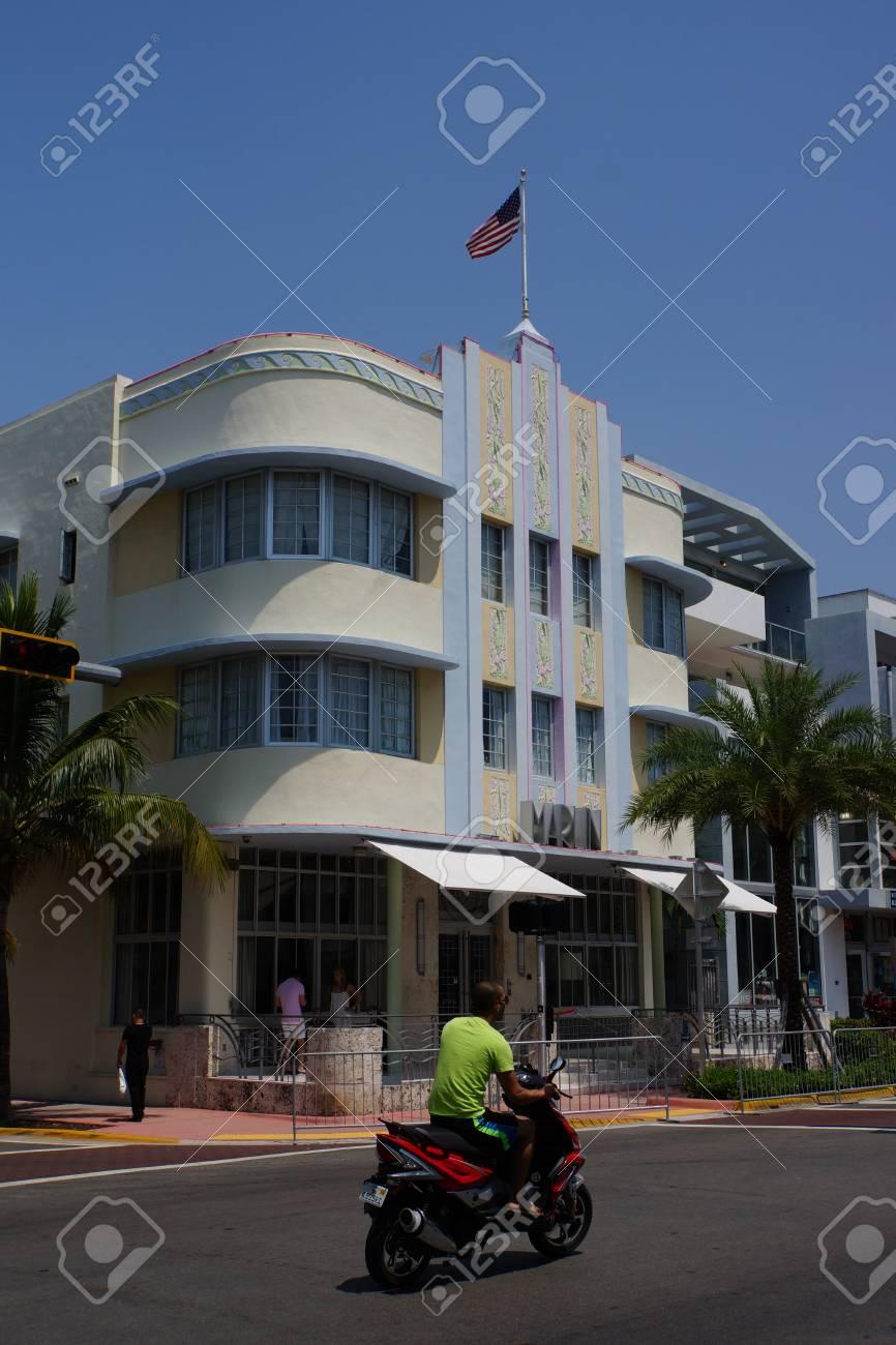 art deco architecture in miami beach florida usa stock photo