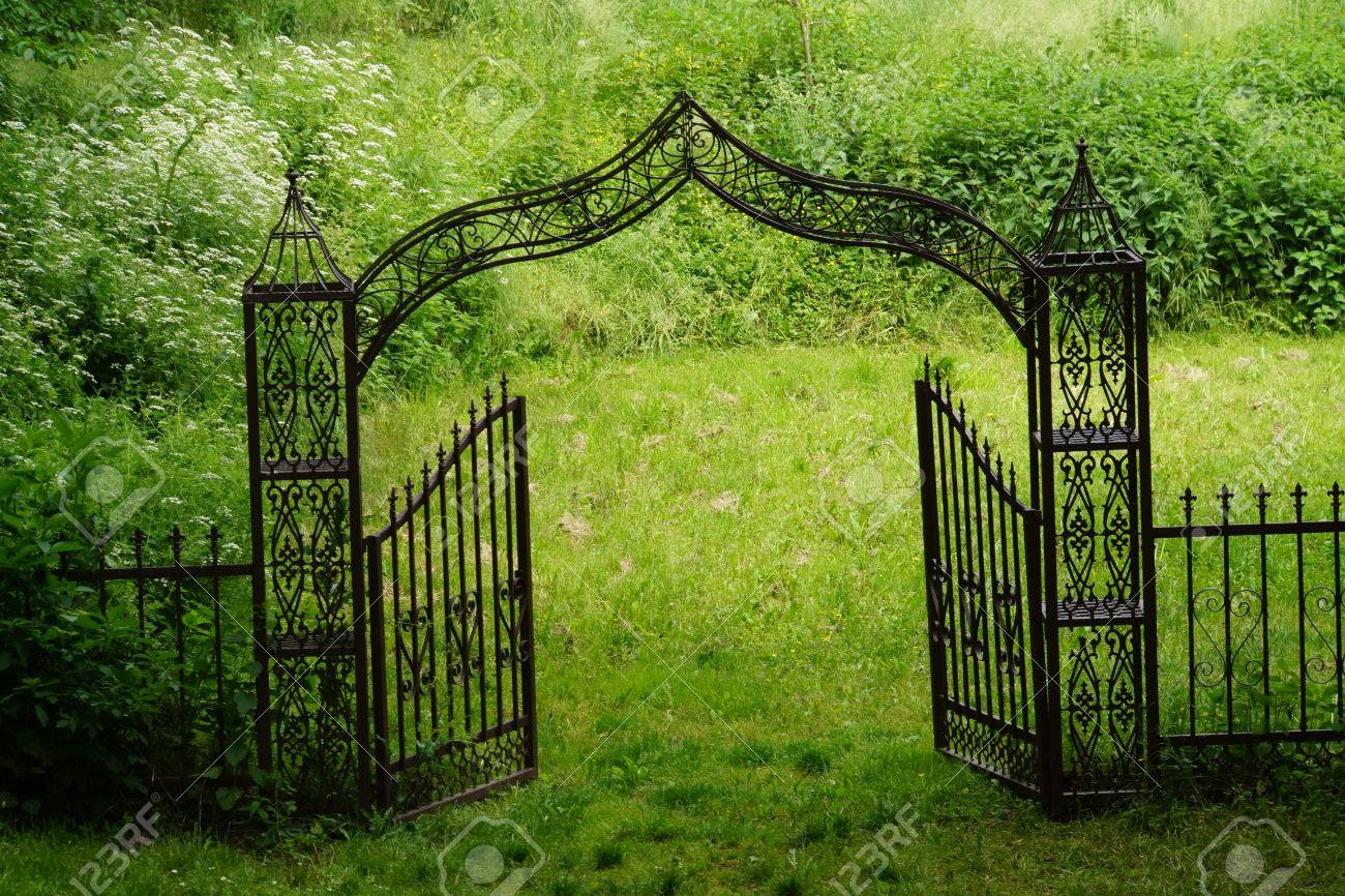 Porte de jardin en fer forgé, Nordrhein-Westfalen, Allemagne