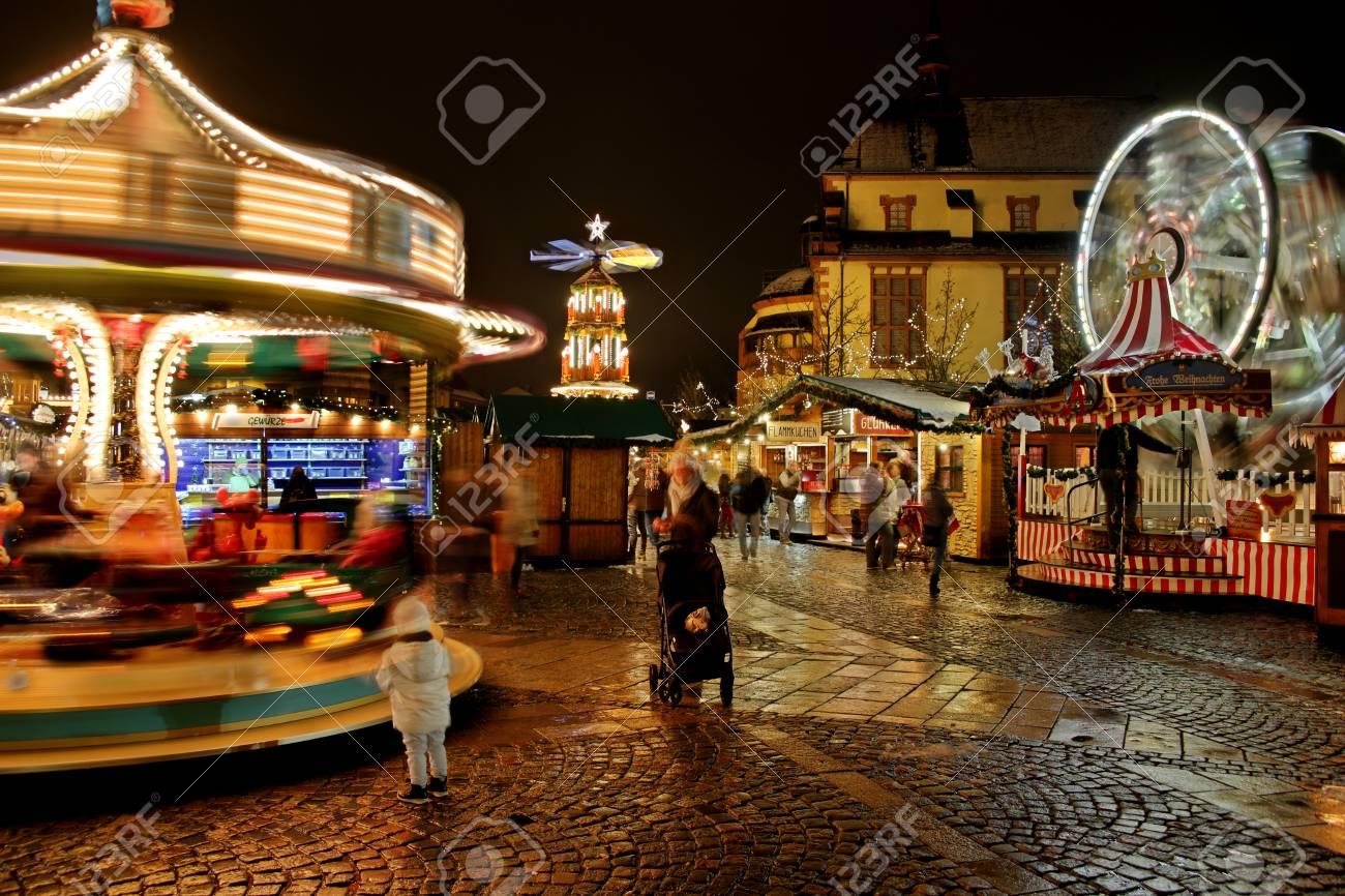 Christmas Market On The Schlossplatz, Aschaffenburg, Bavaria