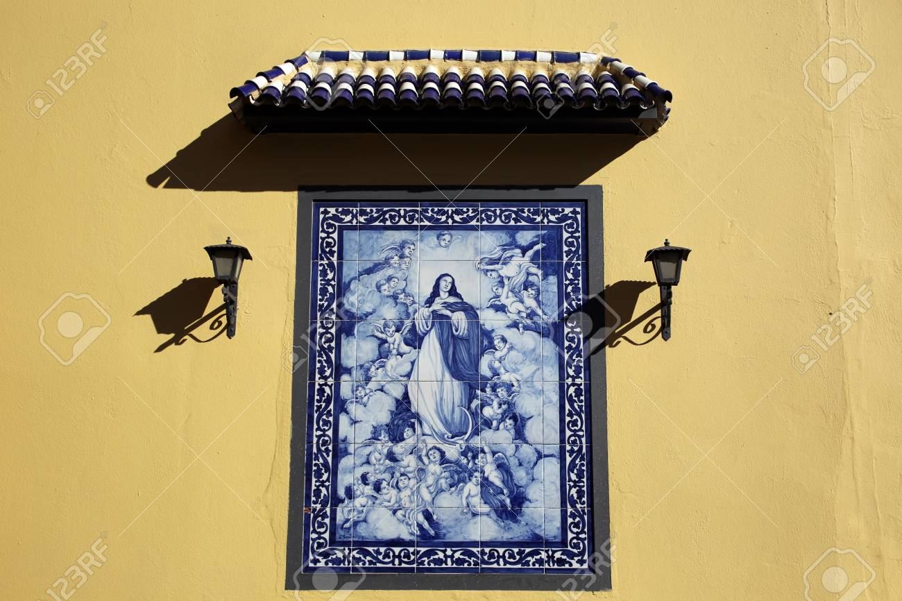 Picture Of The Virgin Mary From Wall Tiles, Seville, Andalusia ...