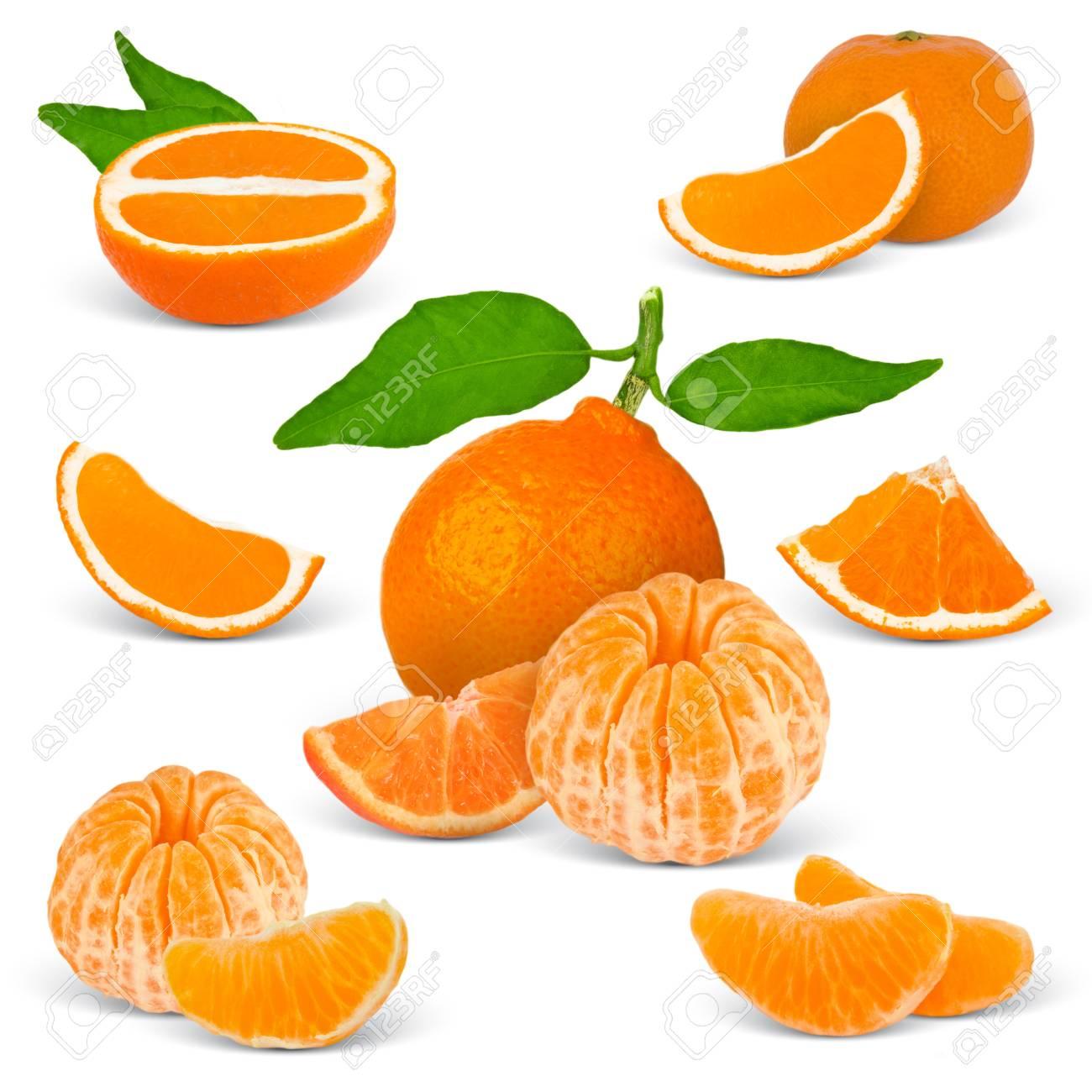 Colección de mandarina aislado en blanco Foto de archivo - 13391995 89d05598c341