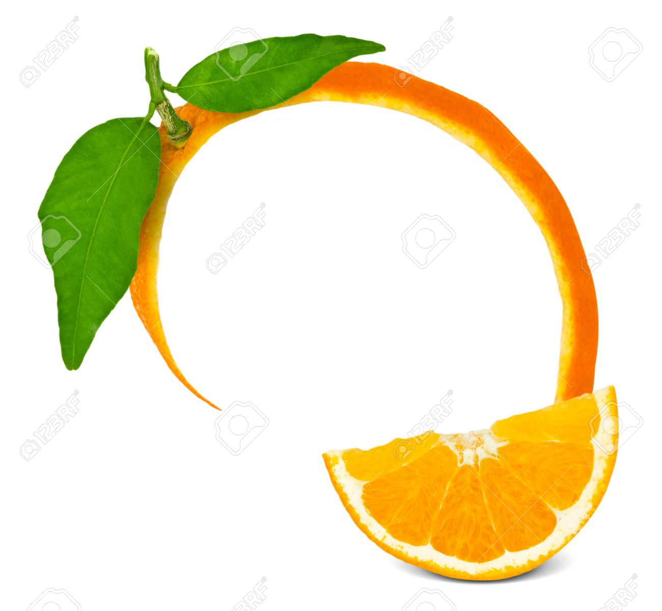 Orange frame with leaves and slice Stock Photo - 13496179