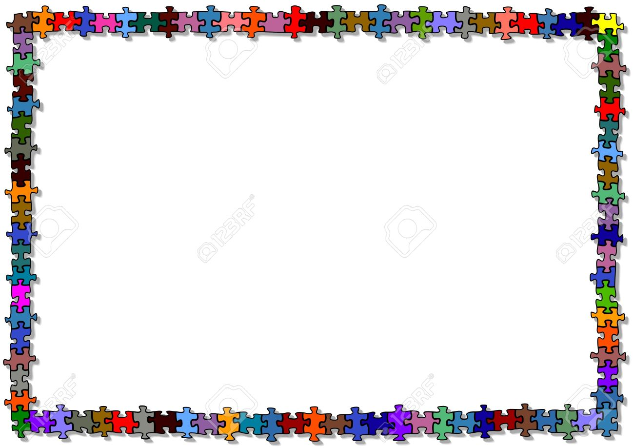colored puzzle frame stock vector 14180377