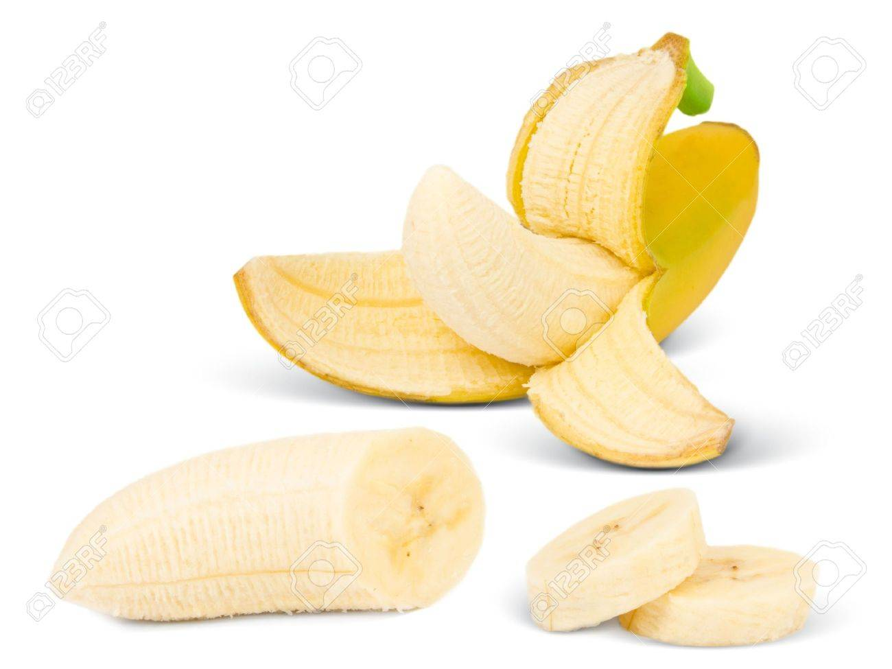 Banana with slices isolated on white Stock Photo - 14180719