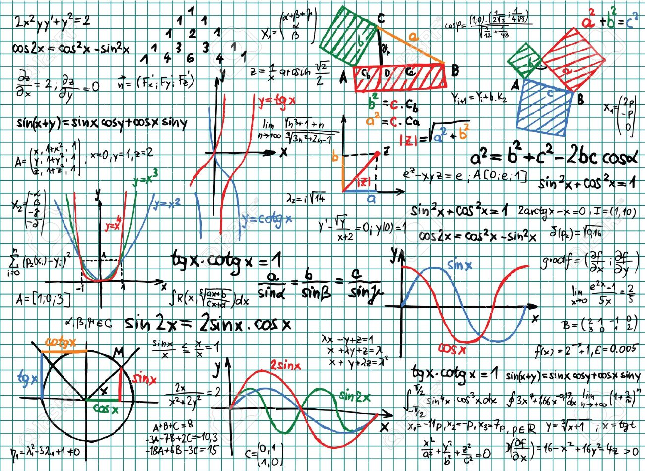 Paper with colored mathematics sketches and formula Stock Vector - 14180747