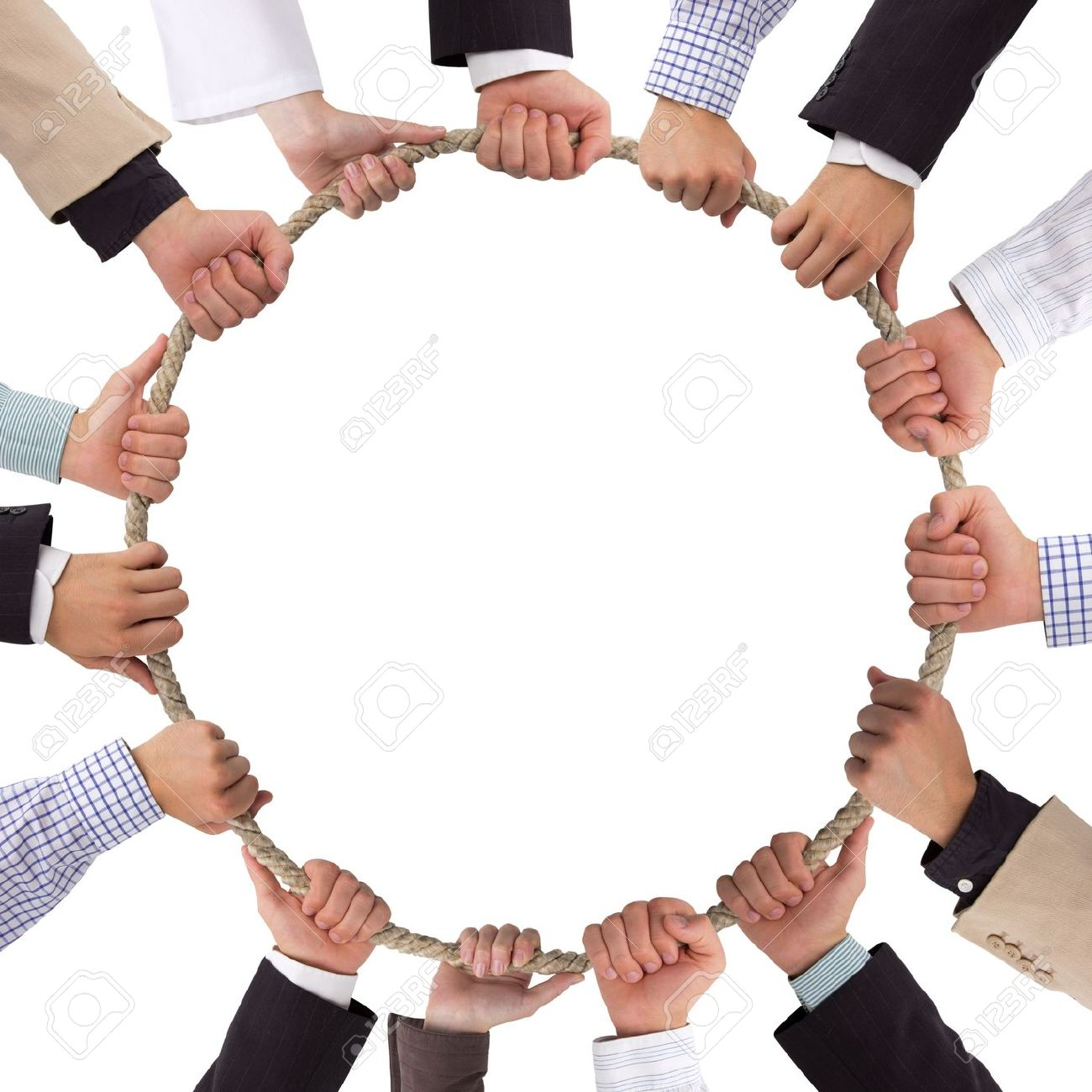 Hands holding rope forming a circle Stock Photo - 14537232
