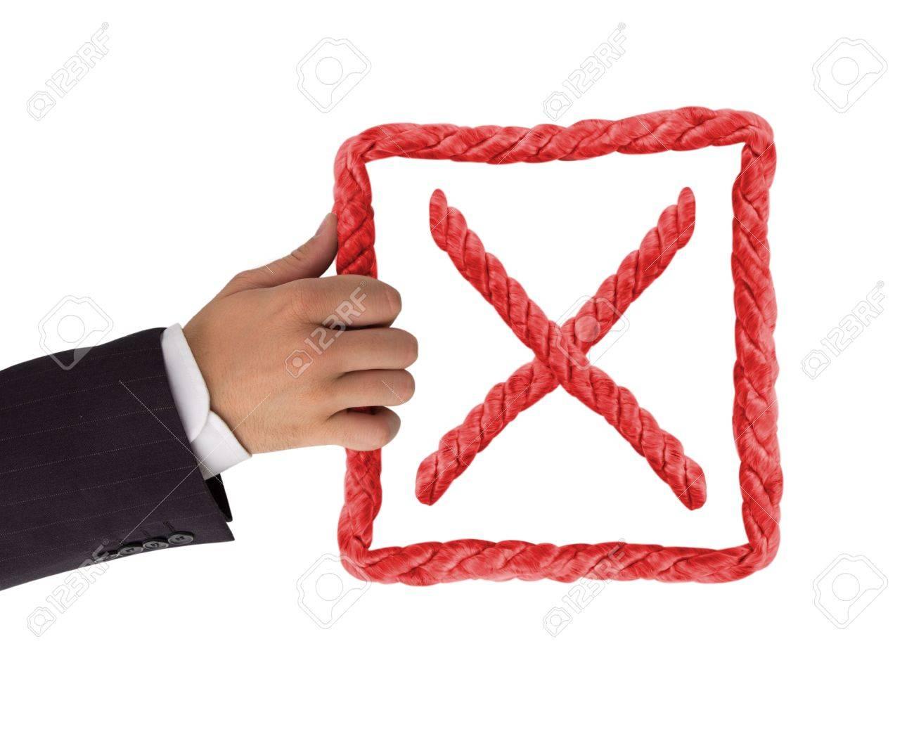 Hand holding negative symbol isolated on white Stock Photo - 14738838