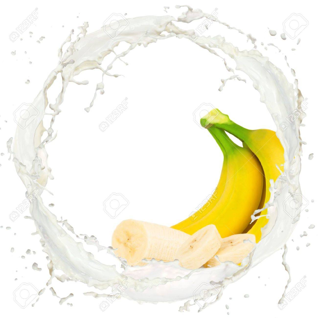 Milk splash with banana isolated on white Stock Photo - 14872662