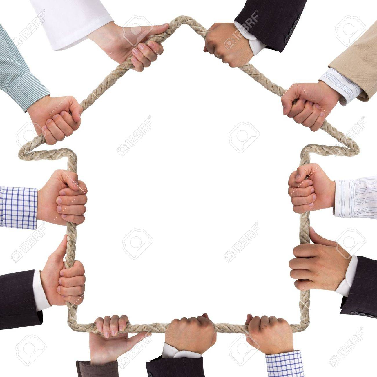 Hands holding rope forming house Stock Photo - 15539099