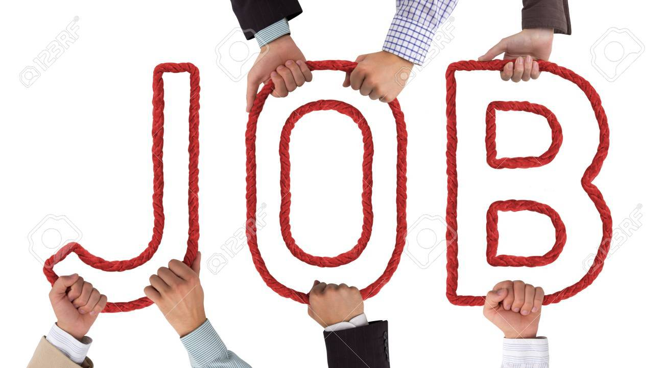 Hands holding red letters forming Job tag Stock Photo - 15635975