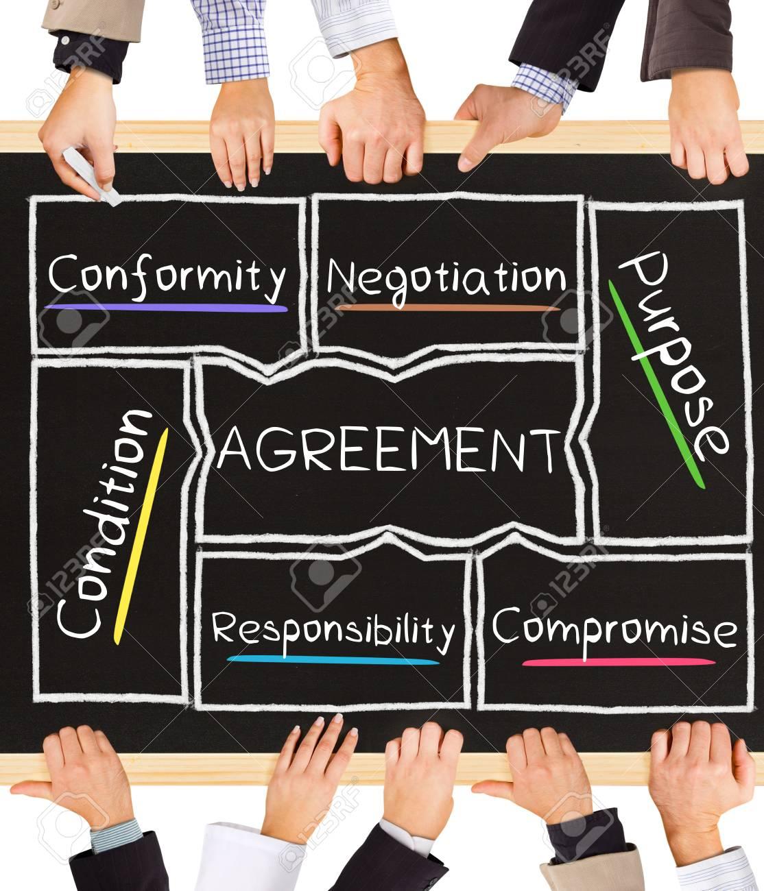 Foto Des Business Händen Halten Tafel Und Schreiben Vereinbarung