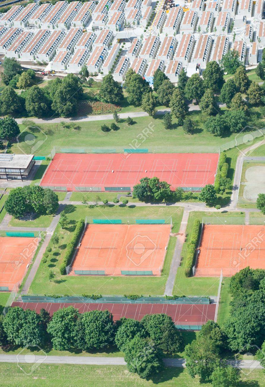 Aerial View with Tennis Courts and Residential Housing Stock Photo - 7326871