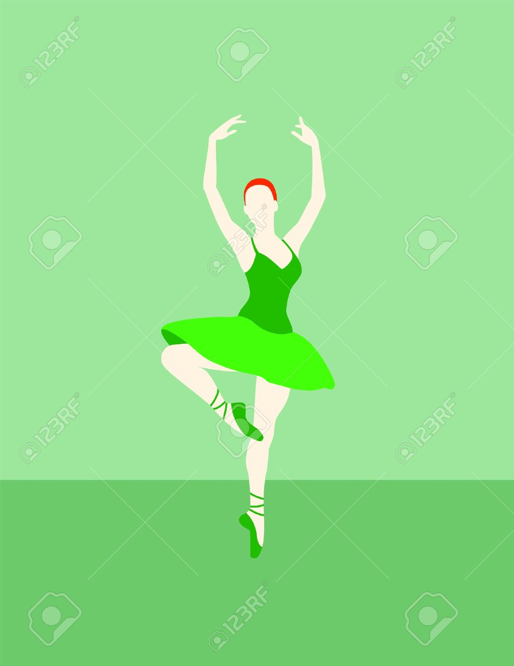 Irish look ginger ballet dancer with a green dress on a green background Stock Vector - 13992397