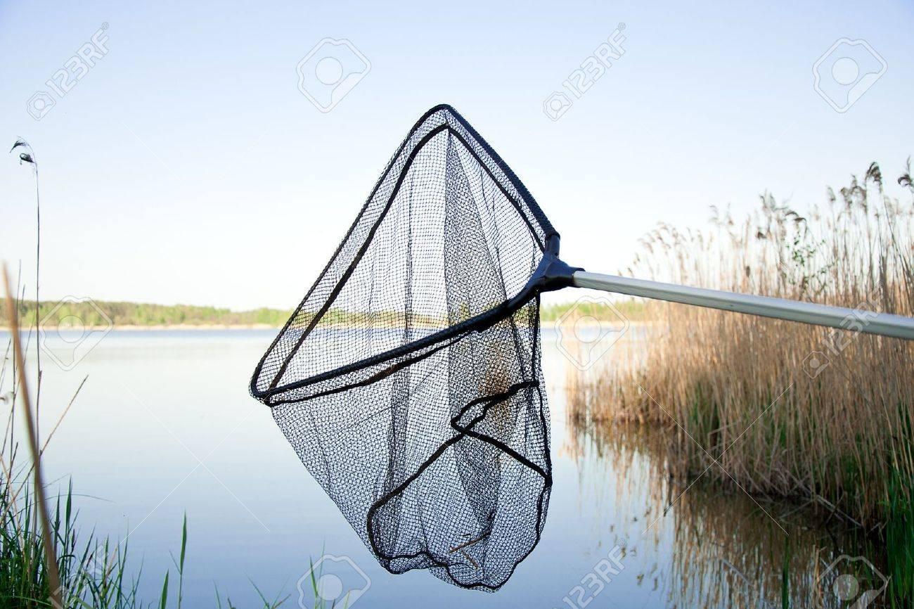 Landing net on the lake with blue sky outside - 14538236