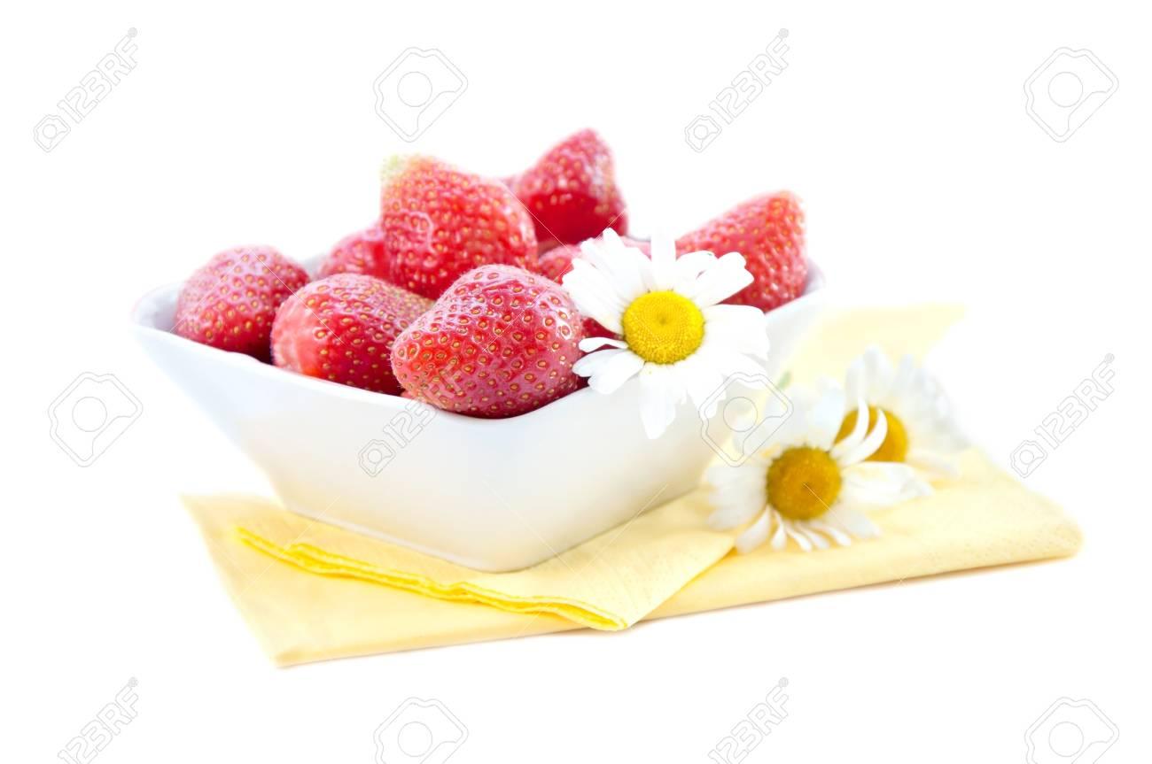 Fresh strawberries in bowl on white background Stock Photo - 14572425