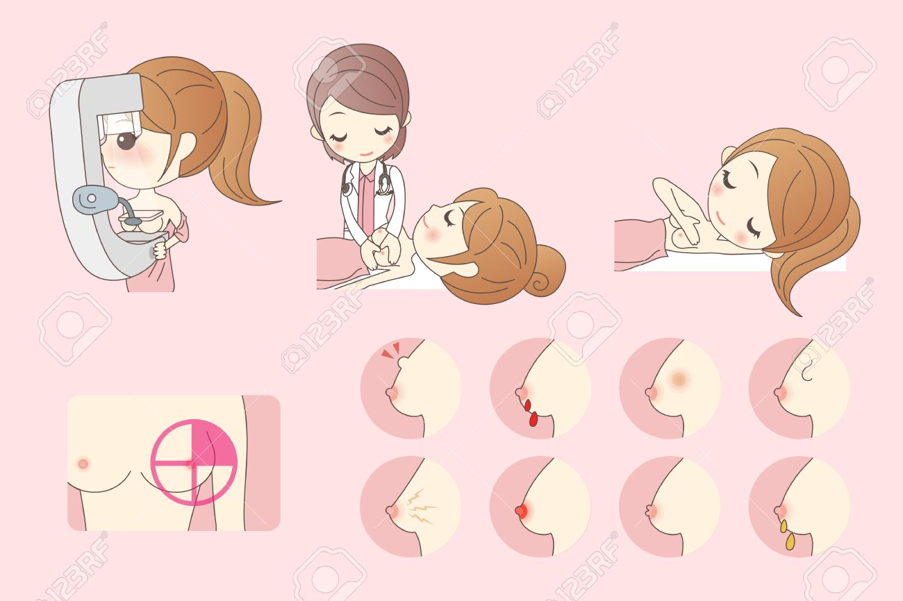 cartoon woman go to check for breast cancer royalty free cliparts