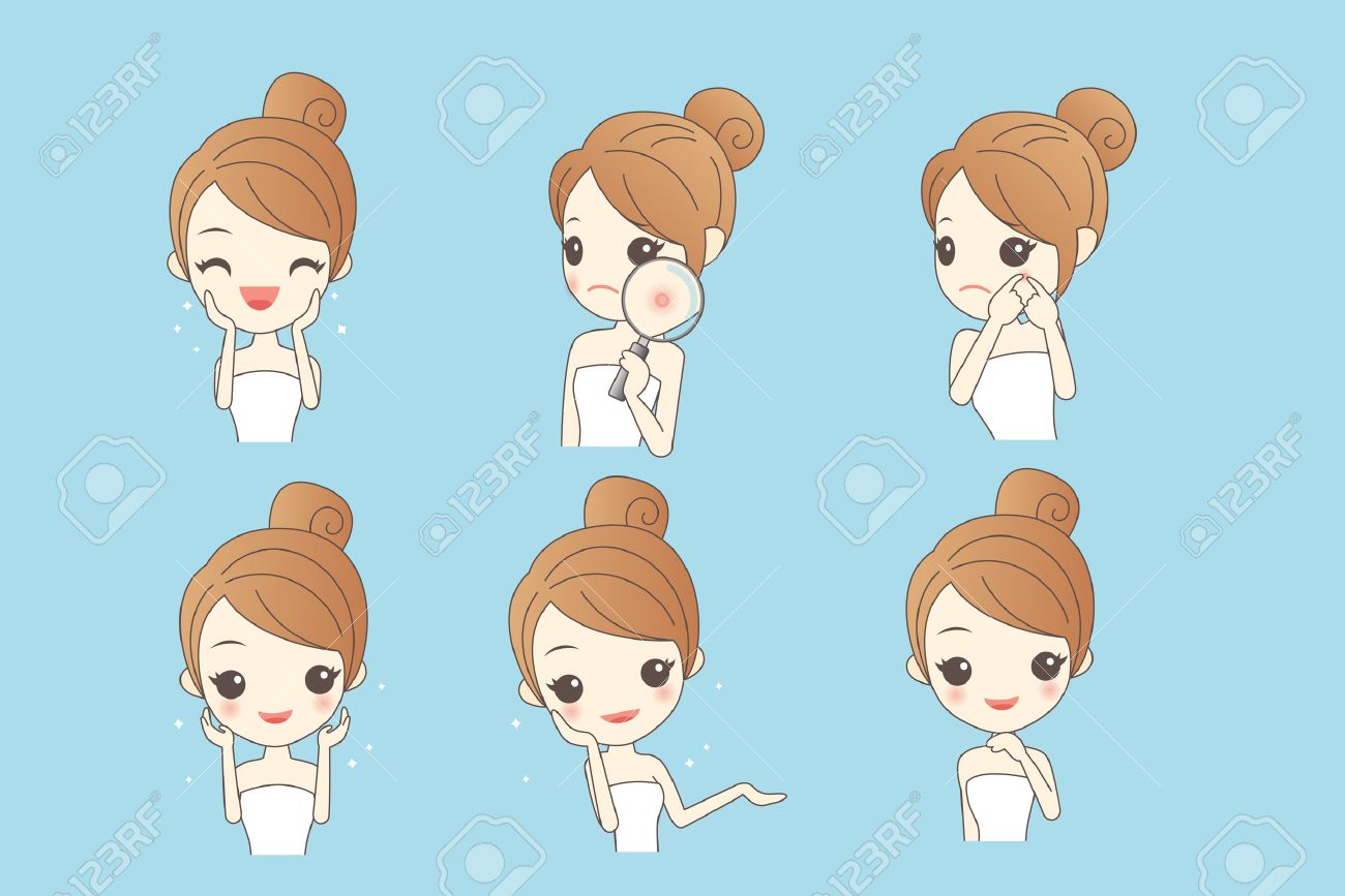 cartoon skin care woman with various expression and face skin problem - young woman with a acne and magnifying glass check it, beauty - 69430695