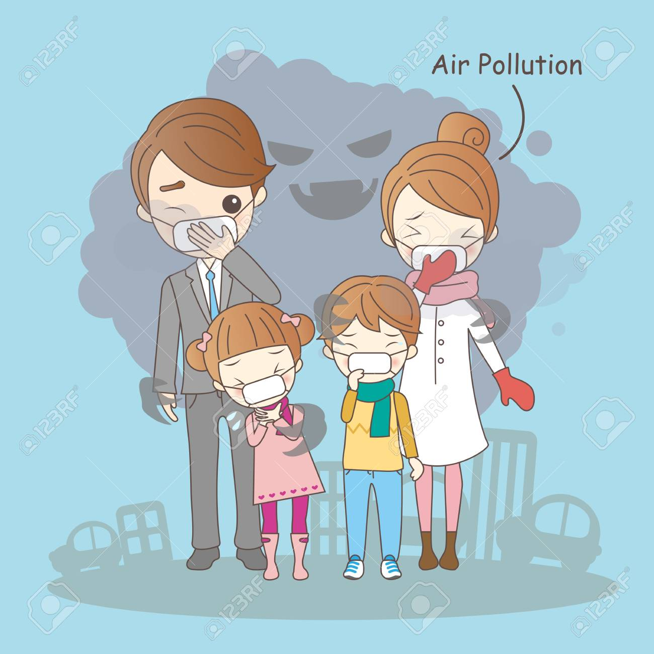 Cartoon Family With Air Pollution Great For Your Health Royalty Free Cliparts Vectors And Stock Illustration Image 69430843