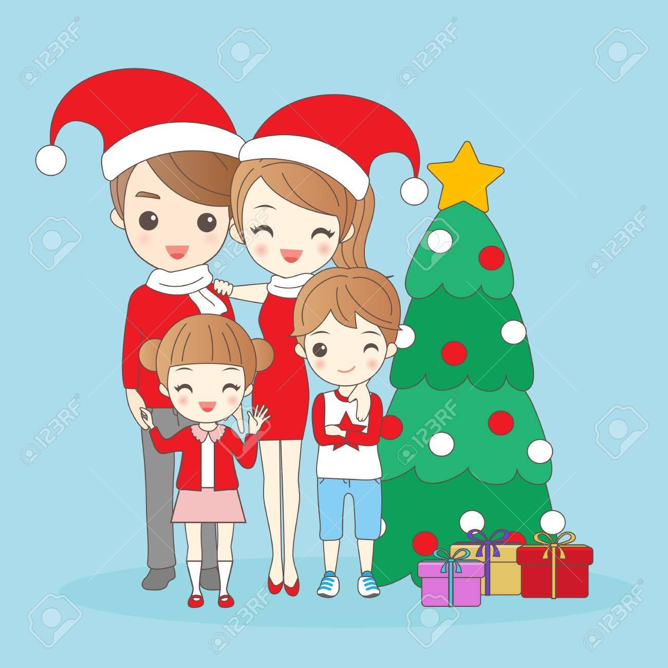 Famille De Dessin Animé Noël Est Souriant Heureux De Vous Clip Art