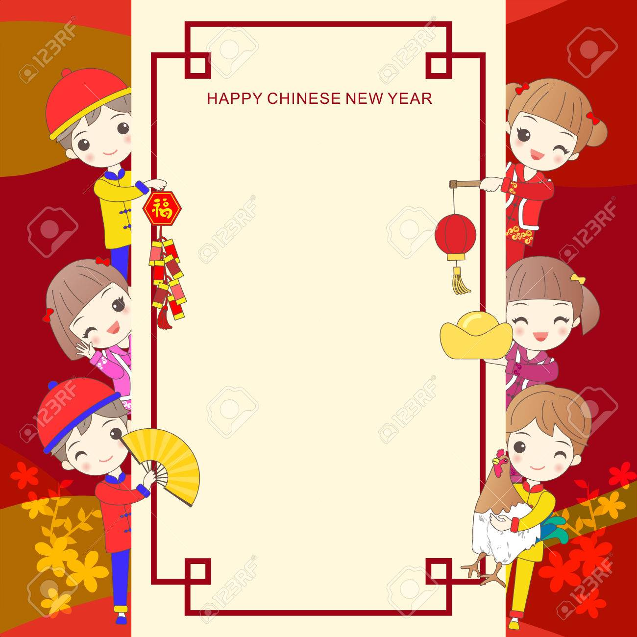 happy cartoon childen on frame with chinese new year royalty free rh 123rf com