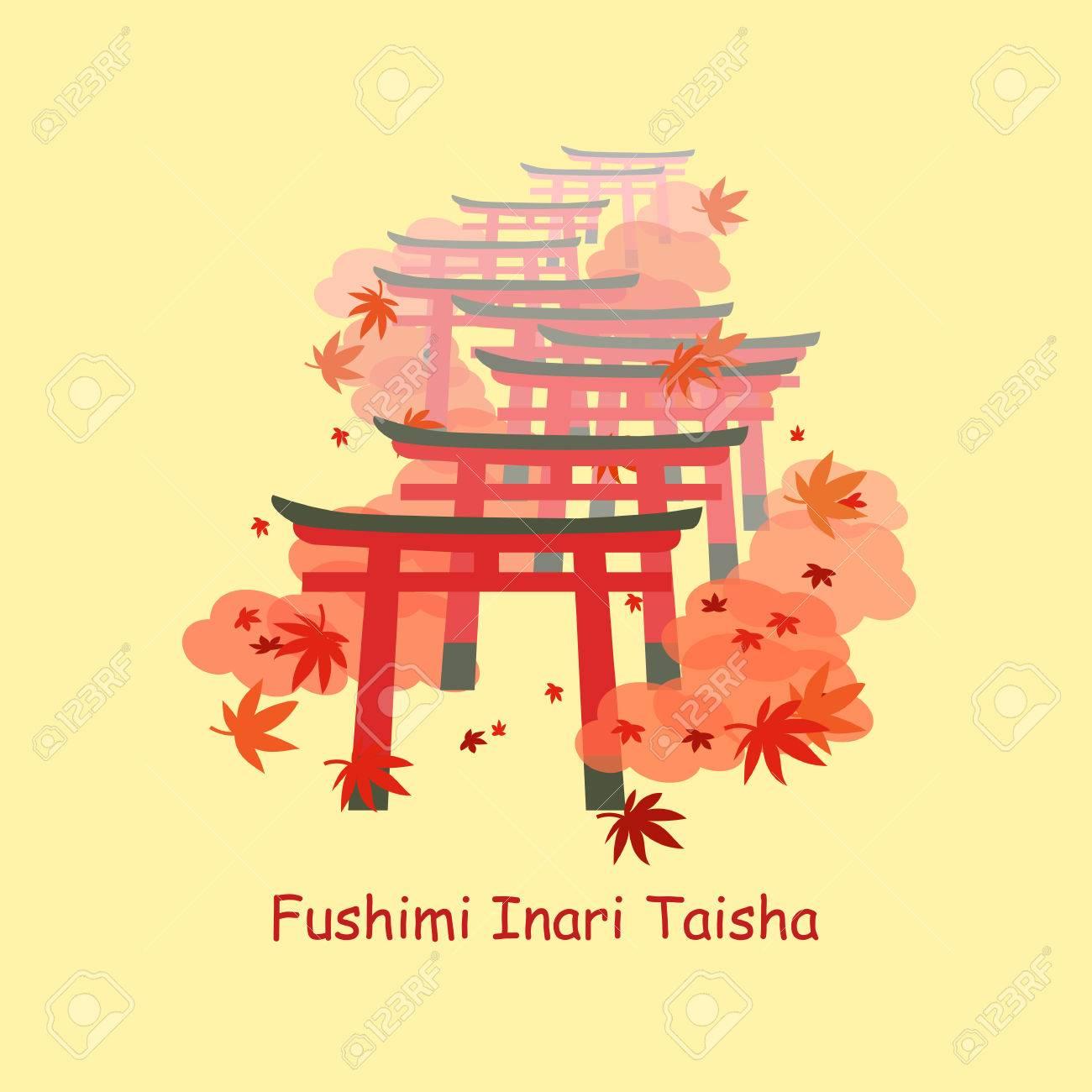 伏見稲荷大社と秋の紅葉の鳥居のイラスト素材ベクタ Image 69775918