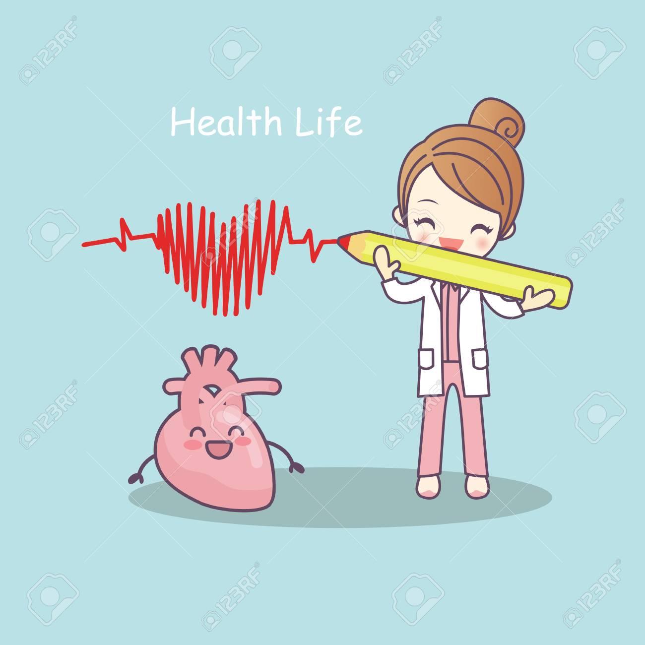 Corazón De Dibujos Animados Lindo Con Médico Vida De La Salud Ideal Para El Concepto De Atención Médica