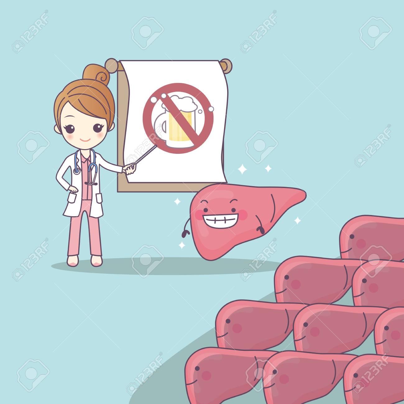 Dibujos Animados Médico Enseñar Hígado Para Ser La Salud Gran Concepto De Cuidado De La Salud