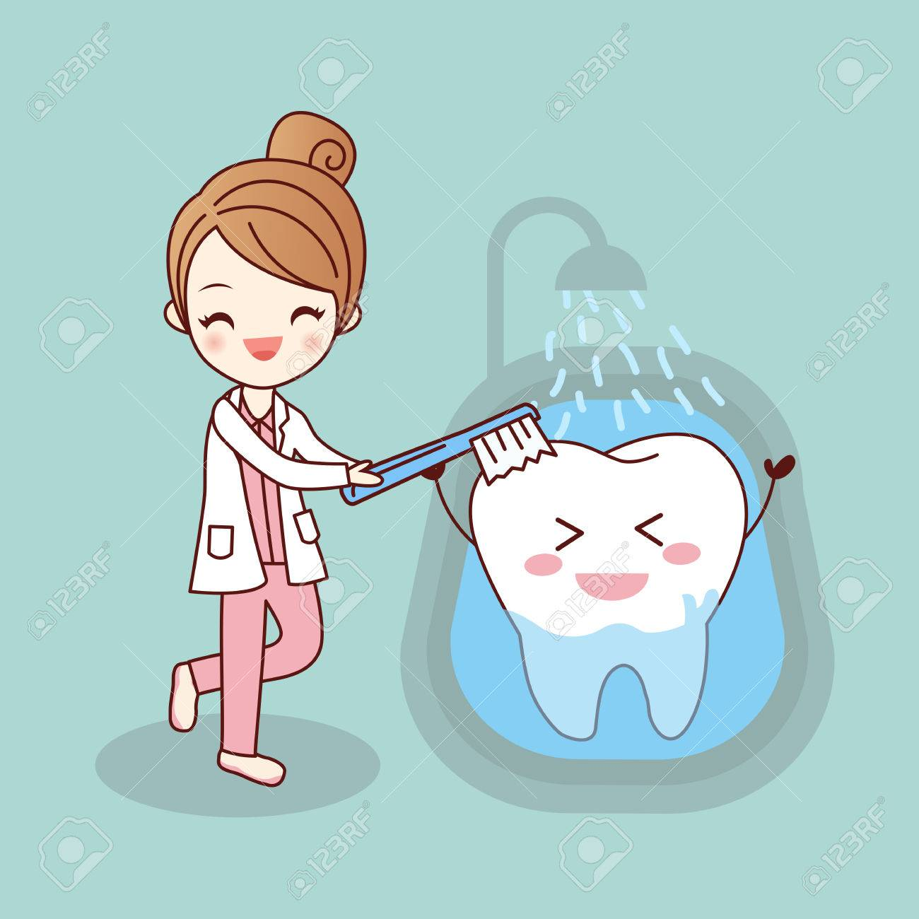 Beauty Cartoon Dentist Is Brush Tooth Great For Health Dental Royalty Free Cliparts Vectors And Stock Illustration Image 70305735