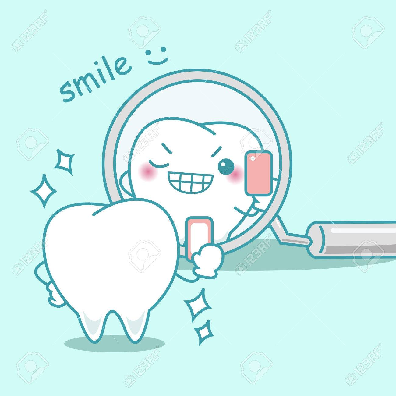 Cute Cartoon Teeth Smile To You In The Mirror Royalty Free Cliparts Vectors And Stock Illustration Image 70274318