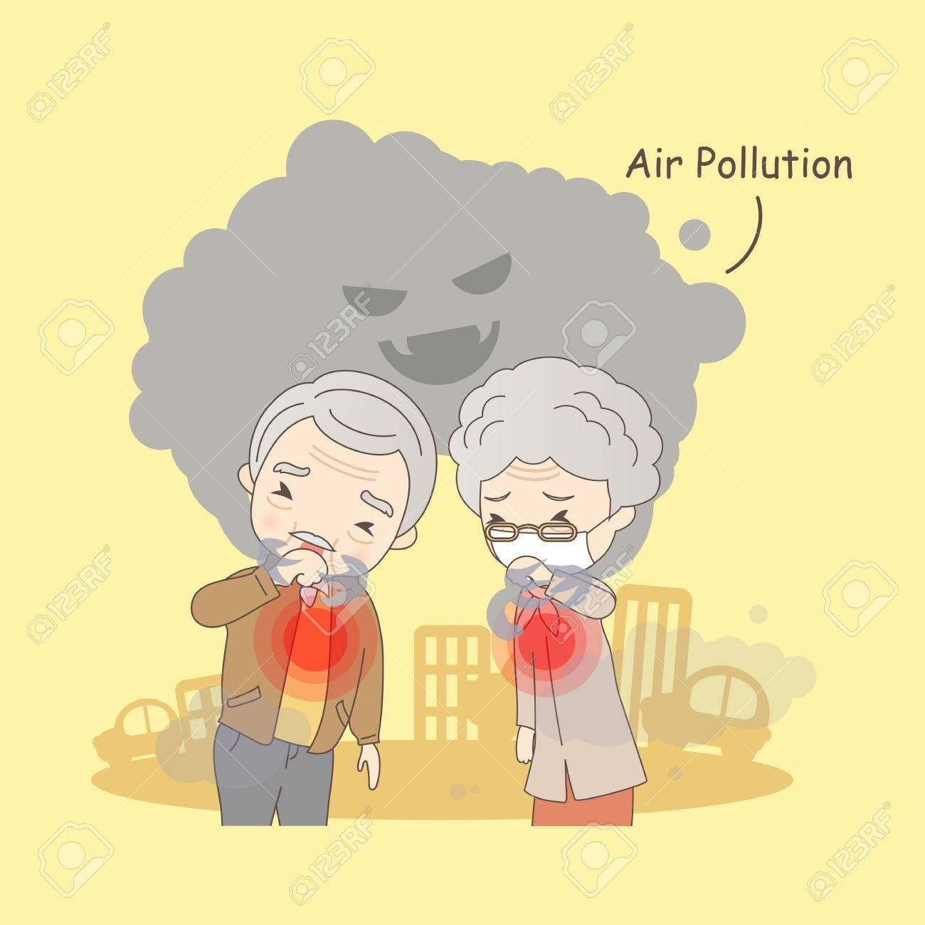 De Dibujos Animados Pareja De Ancianos Con La Contaminación Del Aire