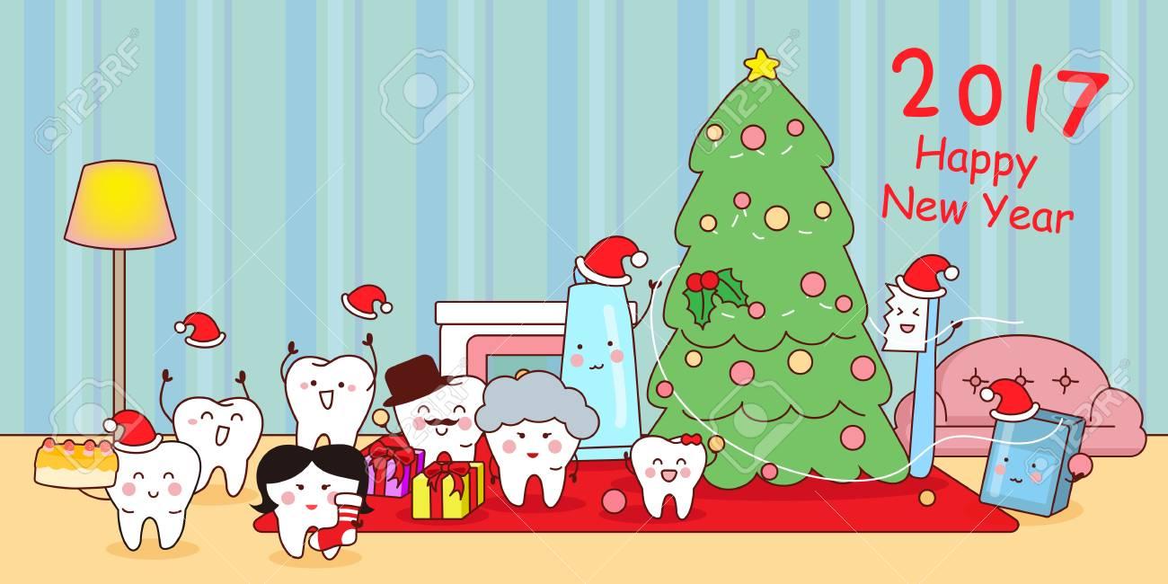 Happy Cute Cartoon Tooth Family Celebrate Christmas Stock Vector