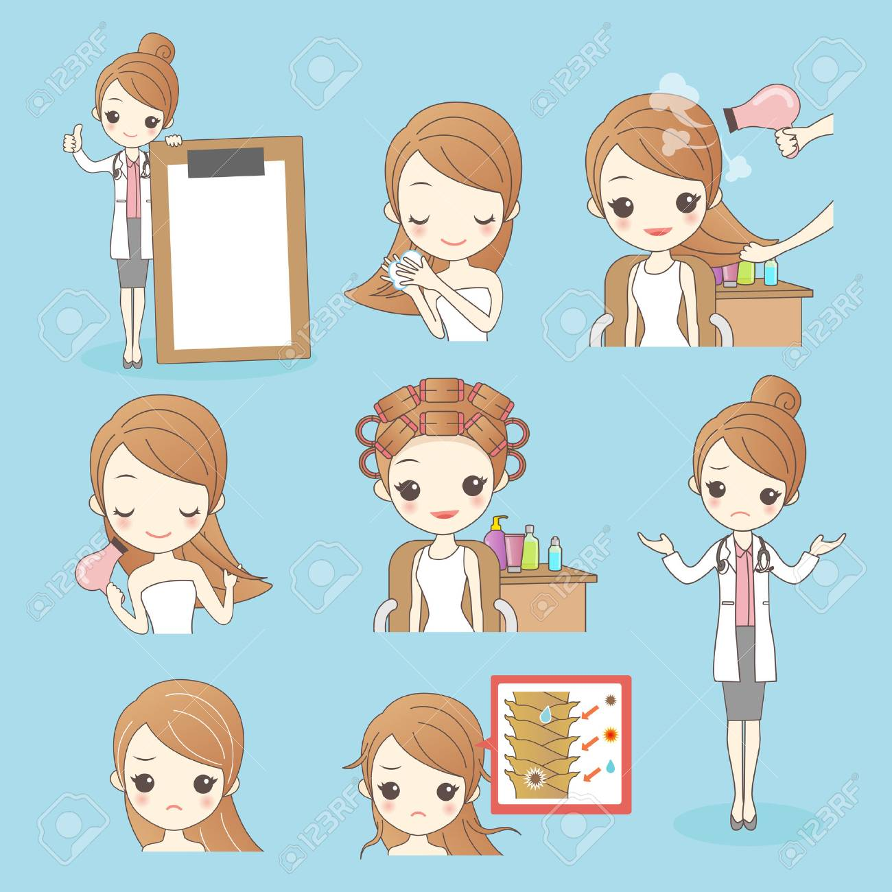 Beauty Cartoon Woman With Hair Salon Isolated On Blue Background Royalty Free Cliparts Vectors And Stock Illustration Image 72893196