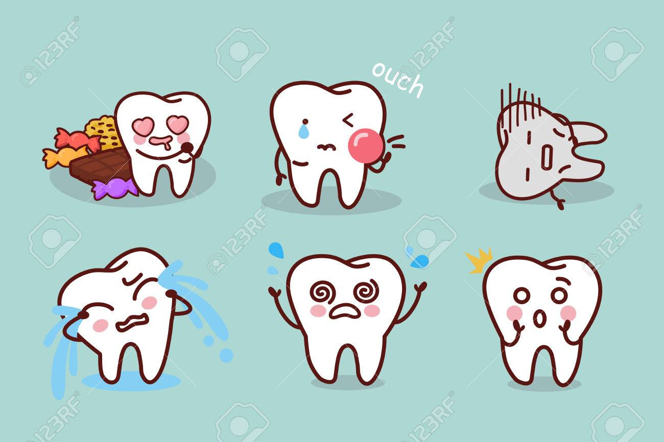 Cute Cartoon Tooth With Tooth Decay Problem Royalty Free Cliparts Vectors And Stock Illustration Image 73766860