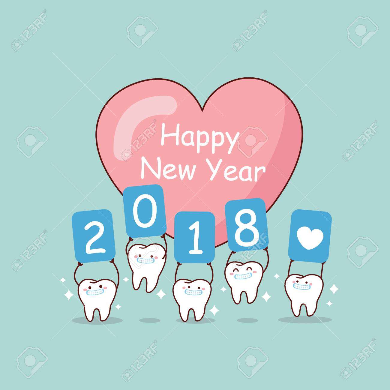 happy new year and cute cartoon tooth with whiten stock vector 88539583